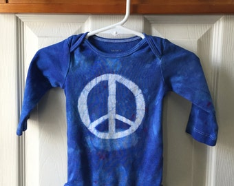 Peace Sign Baby Bodysuit, Baby Peace Sign Bodysuit, Peace Sign Baby Gift, Baby Shower Gift, Gender Neutral Baby Gift, Blue Peace (6 months)