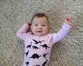 Pink Dinosaurs Organic Baby Bodysuit Long Sleeves