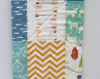 Modern Woodland Baby Quilt-Rustic Organic Birch Fabric-Blue-Mint-Orange-Bear Hike-Elk-Deer-Arrows-Feather River Baby Blanket