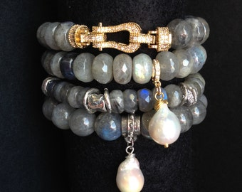 BEST SELLER - Labradorite Gemstone and Baroque Pearl Stretch Bracelet with Gold Vermeil Bead and Detachable Baroque Pearl Charm