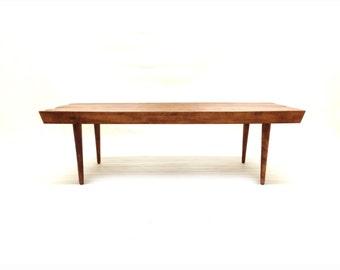 Vintage Slatted Bench In Wood