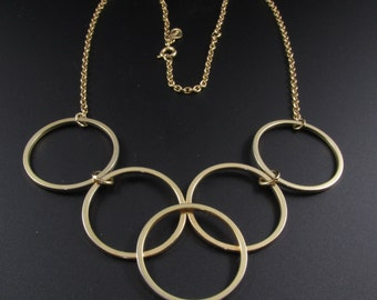 Avon Gilded Circles Necklace, Gold Necklace, 1970's Necklace, Circle Necklace, Modernist Necklace, Statement Necklace