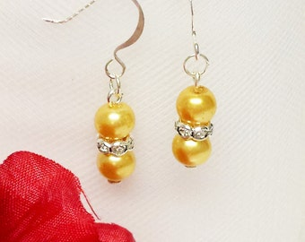 Golden Sunlight Pearl Earrings - Traditional Bridesmaid Earrings - 6mm Rondelle Rhinestone Flower Girl Earrings