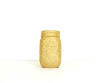 Gold Glittered Pint Mason Jar, Flower Vase, Wedding Decoration, Makeup Brush Holder, Pen and Pencil Holder