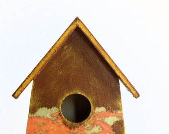Unique Bird House home decor with decoupage of Canada's map