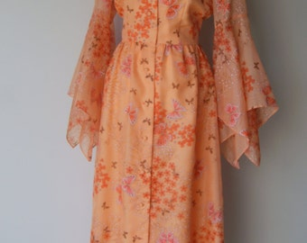 Vintage 1970s Coral Organza Chiffon Butterfly Dress Print Dress by Alfred Shaheen