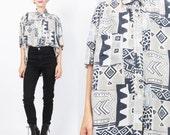 1980s Mens Silk Shirt Abstract Print Silk Shirt Short Sleeve Button Down Shirt Slouchy Tribal Print Blouse Unisex Silk Shirt (L/XL) E01