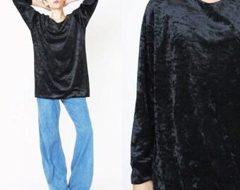1990s Black Velvet Top Crushed Velvet Shirt Long Sleeve Top Black Velvet Blouse Vintage Slouchy Velvet Tunic Grunge Goth Basic (M/L)