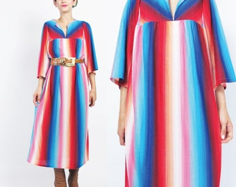 1970s Rainbow Striped Dress Hippie Caftan Dress Long Sleeve Striped Dress Bright Multi Color Dress Soft Boho Tent Pullover Tunic Dress (S/M)