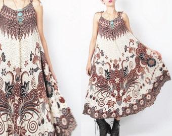 60s 70s Batik Print Dress Trapeze Dress Tent Bohemian Ethnic Sundress Brown Hippie Boho Summer Spaghetti Strap Ties Full Skirt Dress (S/M)