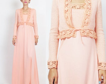 1970s Peach Maxi Dress Jacket Set Floral Crochet Lace Cardigan Jersey Pink Bridesmaid Dress Matching Outfit Long Evening Gown (XS/S) E705