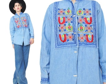 Vintage Floral Embroidered Denim Shirt 1960s 1970s Hippie Boho Blue Jean Denim Button Down Long Sleeve Toggle Buttons Womens Shirt (M/L)