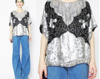 Vintage Silver Sequin Blouse Slouchy Sequin Top Silk Sequin Blouse Abstract 1980s Party Blouse Disco Evening Black Beaded Top Tunic E126