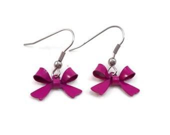 Pink Bow Earrings, Surgical Steel Ear Wires for Sensitive Ears, Cute Earrings, Earrings for Teens, Small Drop Earrings, Small Gifts under 10