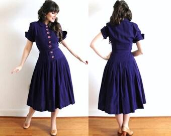 1950s Dress / 50s Purple Wool Dress