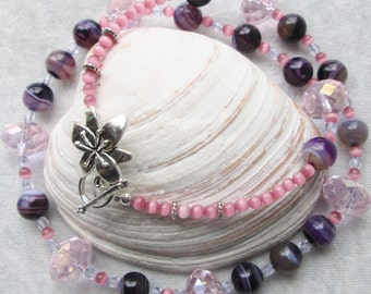 Purple Skies and Peppermints Diva Necklace - Beautiful Purple Agate Gemstones - Pink Cats Eye Beads - Feminine - Classy and Chic - Gift