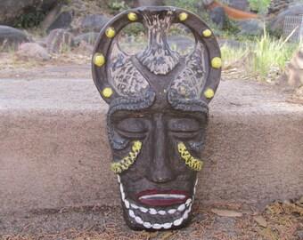 "Vintage 1960's African Tribal Tiki Head Voodoo Mask Empty Bralatta Liqueur Ceramic Decanter Bottle w/Cork made in Italy ~ 10"" x 6"" x 3"" ~"