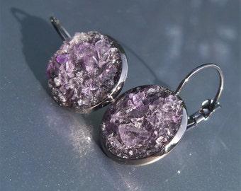 Amethyst Crater Earrings Lever Back Black Tone Earrings