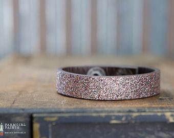 CUSTOM HANDSTAMPED CUFF - bracelet - personalized by Farmgirl Paints - dark toned multi-colored glitter cuff