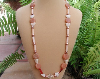 Long Necklace, Original Beaded Necklace, Matinee Length, 28 inch Necklace, Flowers and Butterfly, Peaches and Creme, Copper Beading