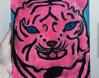 Original Acrylic Painting Of A Tiger, Bright Pink, 8x8.5 inches