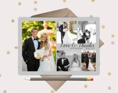 Love & Thanks 5 picture Wedding Thank You Card - simple and elegant