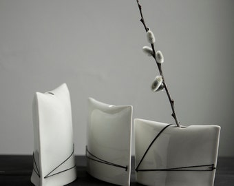 Stitched Porcelain Bud Vases //Pillow Vase Design