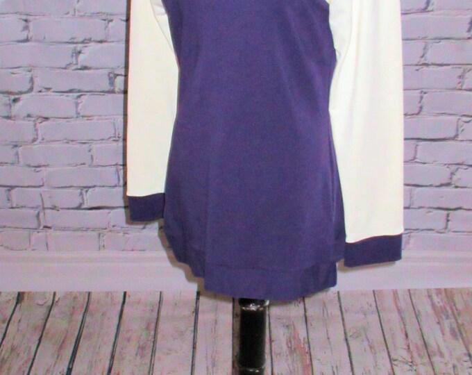 Purple and Ivory Baseball Sleeve Hooded Sweatshirt