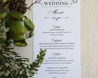 Printed Wedding Menu | reception menu | dinner menu | table menu | PRINTED  Style M10 - Graceful COLLECTION