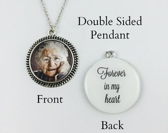 Forever in My Heart - Your Loved One's Photo on a Double Sided Pendant - Memorial Necklace or Keychain - Round Vintage -5 finishes available