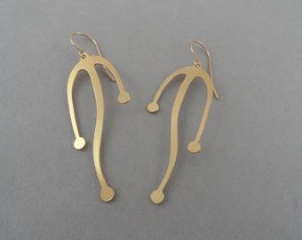 sea weed earrings, abstract earrings, abstract jewelry, dangling earrings