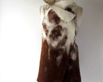 Felted vest  women alpaca wool vest seamless Cream brown tunic felt vest wool reversible women vest by Galafilc