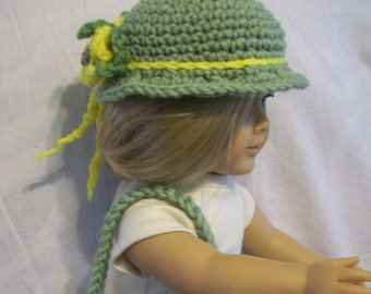 Retro Crochet hat and bag for American Girl and similar 18 inch dolls in yellow and sage