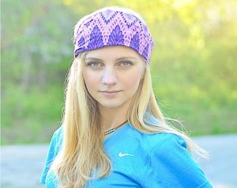 Bohemian Headband Purple Boho Headscarf Extra Wide Head Scarf Fabric Head Cover Gypsy Hair Scarf (#2204) S M L X