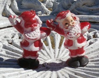 Pair of Vintage Santa Claus Candy Containers, Lollypop Holder Christmas Hard Plastic