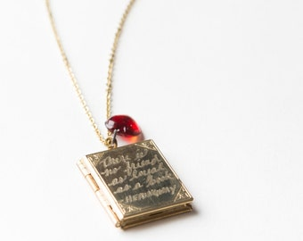 Hemingway Book Locket Necklace..Hand engraved Hemingway quote on a vintage brass book-shaped locket