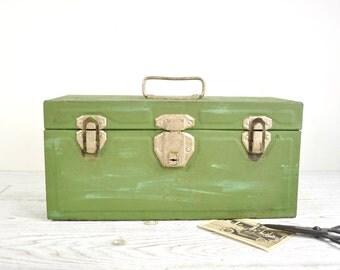 Industrial Metal Toolbox, Vintage Tool Carrier, Green Metal Storage Box, Industrial Storage