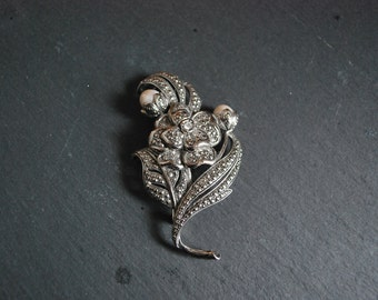 Vintage Avon Kenneth Jay Lane silver marcasite style floral brooch with pearls bridal shabby chic