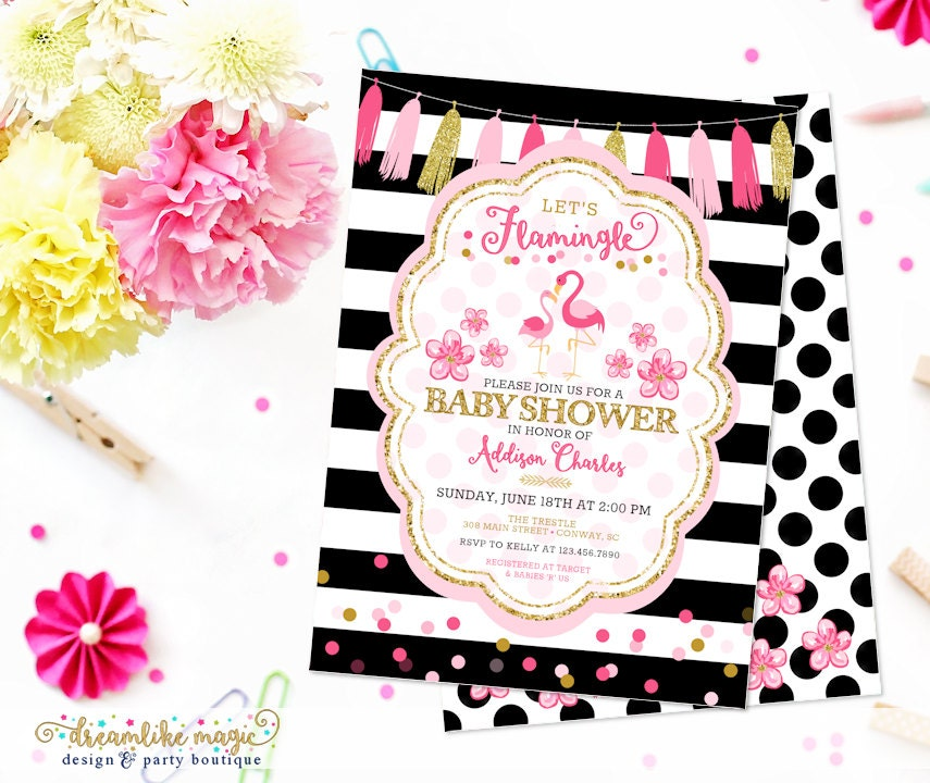 flamingo baby shower invite printable summer baby shower