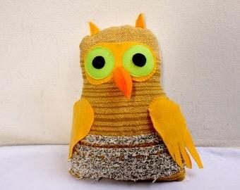 Handwoven owl, pillow, plush,softie