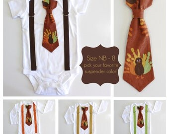 Baby Boy Thanksgiving Outfits. Newborn Boy 1st Thanksgiving. Boys Thanksgiving Shirt. Turkey Tie and Suspenders. Fall Picture Clothes.