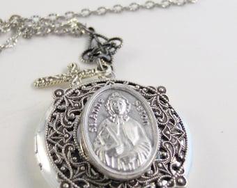SALE Saint Anne,Grandmothers,Mothers,Saint for Grandmothers and Mothers,saint Necklace,Saint Locket,Rosary,Saint Anne Necklace,Saint Anne Lo