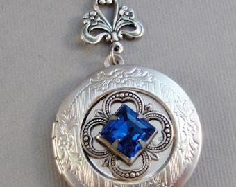 Sapphire Gleam,Vintage Sapphire,Vintage Necklace,Vintage Locket,Pendant Sapphire Necklace.September Birthstone,BirthsotoneValleygirldesigns