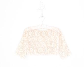 60s Crop Top * Vintage 1960s Bolero Blouse * Ivory Lace Cropped Shirt * Medium