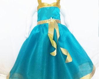Brave Dress: teal and gold tutu dress & satin, Merida Tutu dress, princess birthday party, adjustable, princess dinner, vacation, glitter