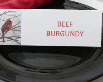 Name Cards/ Place Cards/ Food Tents - Winter Cardinal - Set of 6- Dinner Party Table Decor
