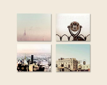 SALE, Pastel New York City Prints, 4 Photo Set, Beige, Blue, Pink, NYC Art, New York Photography, Save 50%