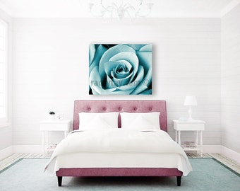 Teal Wall Art, Blue Canvas Art, Bedroom Wall Art, Rose Flower Photography on Canvas