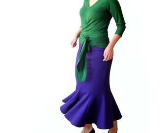Maxi Skirt, Violet skirt, Plus size maxi skirt, Jersey skirt, Eight-gore long skirt, Custom plus size clothing, Evening skirt, Plus size