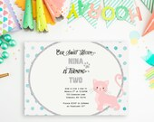 Kitty Cat Birthday Party Invitation for Girls - Pink Cat, Silver Glitter, and Polka Dots - Printing Deposit or Printable / Digital File